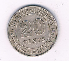 20 CENTS  1948 MALAYA  MALEISIE /7412/ - Malesia
