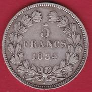 France 5 Francs Louis Philippe  1834 W - J. 5 Francs