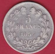 France 5 Francs Louis Philippe  1837 A - J. 5 Francs