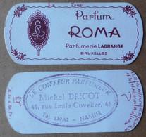 Carte Parfumée, Parfum Roma (Parfumerie Lagrange, Bruxelles)---Coiffeur Dricot (Namur) - Anciennes (jusque 1960)