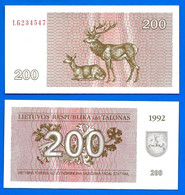 Lituanie 200 Talonas 1992 NEUF UNC Que Prix + Port Litu Animal Cerf Lithuania Bitcoin Skrill Paypal OK - Lithuania
