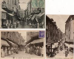 87. 3 CPA. LIMOGES -  Magasins De Boucherie Rue De La Boucherie - étals - Scan Du Verso  - - Shops