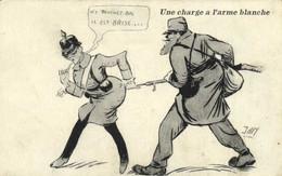Militaria Satirique JAN  Une Charge à L'arme Blanche Recto Verso Cachet 17e Bataillon Territorial 2e Compagnie Genie - Patriotic