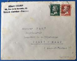 France N°172 Et 173 Sur Enveloppe De Tulle à Saint-Malo 1928 - (B3533) - 1921-1960: Modern Tijdperk