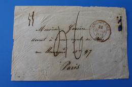 1833 ANGOULEME Marcophilie Devant De Lettre 1801-1848: Précurseurs XIX-☛Paris--Timbres Europe  France - 1801-1848: Precursors XIX