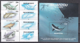 Niuafo'ou 1987 - Mi.Nr. 94 - 97 + Block 5 - Postfrisch MNH - Tiere Animals Fische Fishes Haie Sharks - Peces