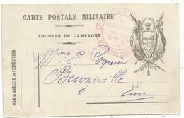 CARTE FM TROUPES  EN CAMPAGNE HONNEUR ET PATRIE 1915  POUR BEUZEVILLE EURE - Storia Postale