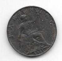 *great Britain Farthing 1911  Km 808.1  Xf+/ms60 Catalog Val 35$ - 1902-1971 : Monete Post-Vittoriane