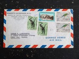 LETTRE EL SALVADOR AVEC YT 676 687 PA 184 - MONUMENT ET PLACE LIBERTE - SINGE ATELE DE GEOFFROY - MOTMOT SOURCILS BLEUS - El Salvador