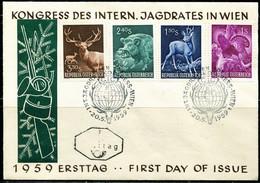 FP2153 Austria 1959 Animal Wild Boar Antelope Etc. FDC - Stamps