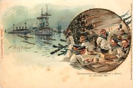 Deutschland - Type Gruss Aus - Willy Stöwer - Weihnachtsfeier Der ' Deutschland ' U ' Gefion ' Vor Gibraltar 1897 - Guerra