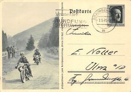 Feldpostkarte Zum Reichsparteitag 1941 Braunschweig Ulm Vermeidet Rundfunk-Störungen Stempel Motorrad-Rennen - Storia Postale