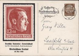 Entier Hindenburg  Deutsche Sammler Gemeinschaft Der NS Gemeinschaft Kraft Durch Freude Werbeschau Freital 29 5 1938 - Postwaardestukken