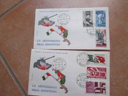 24.04.1965 N.2 BUSTE Serie Completa XX Anniversario RESISTENZA N.6 Valori Diff. - 1961-70: Marcofilia