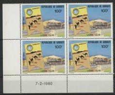DJIBOUTI N° 516 COTE 12 € NEUFS ** MNH . BLOC DE QUATRE AVEC COIN DATE LIONS CLUB.  TB - Rotary, Club Leones