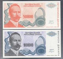 BOSNIA HERZEGOVINA Bosnia & Herzegovina 1993 1000000+5000000 DINAR  LOTTO 3358 - Bosnia And Herzegovina