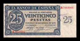 España Spain 25 Pesetas Burgos 1936 Pick 99 Serie R SC- AUNC - 25 Pesetas