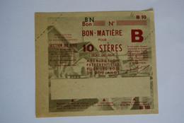 Rationnement - Billet Matiere Ocrpi 10 Steres Bois De Boulange - Historische Documenten