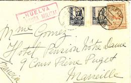 "1937- Enveloppe Affr. à 65 Cts + VIGNETTE  ""para Las Cocinas De HUELVA + CENSURA MILITAR - 1931-50 Lettres"
