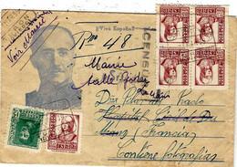 1939 -enveloppe RECC. Affr. à 1,40 Peseta Oblit. De TURON  ( Illustrée D'un Portrait De Franco ) - 1931-50 Lettres