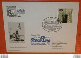 BRD 1217 Aus Block 19 Cover SST: Schiff Kronprinsessan Victoria STENA LINE 24.06.1984 - 2300 Kiel Brief (2 Foto)(38077) - [7] Repubblica Federale