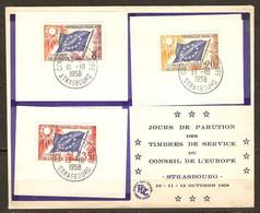 DOCUMENT JOURS DE PARUTION DES TIMBRES DE SERVICE DU CONSEIL DE L'EUROPE 10 11 13 OCTOBRE 1958 - Y & T N° 17 + 18 + 20 - Lettres & Documents