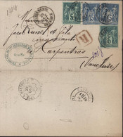 Lettre Recommandée Cachet Tribunal De 1ere Instance De Grenoble YT SageN° 75 X2 + 90 X2 CAD Chargement Grenoble 29 OC 81 - 1876-1898 Sage (Type II)