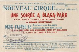 NOUVEAU CIRQUE . SOIREE A BLAGA PARK . 1911 - Eintrittskarten