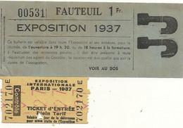 EXPOSITION 1937 . TICKET + FAUTEUIL - Eintrittskarten