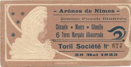 CORRIDA . ARÈNES DE NIMES . 1923 - Eintrittskarten