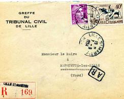 LILLE:  Lettre Recommandée Pour Marquette  1954 - 1921-1960: Periodo Moderno