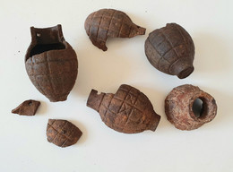 Lot Eclat Grenade Foug Ww1 - Decotatieve Wapens