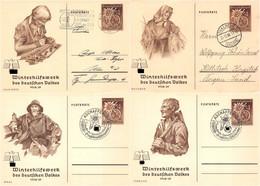 4x Ganzsache Deutsches Reich WHW Winterhilfswerk 1938/39 Februar März Oktober Dezember Stempel Thalheim Aschaffenburg - Storia Postale