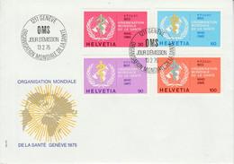 SUISSE FDC 1975 SERVICE - ORGANISATION MONDIALE DE LA SANTE - FDC