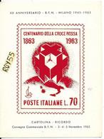 Red Cross Centenario Della Croce Rossa 1863 1963 Cartolina Ricordo Convegno Filatelico First Day Ricorrenza (v.retro) - Red Cross