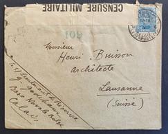 Belgien 1917, Brief Militärpost Zensur, Base Calais, Gelaufen Lausanne - 1915-1920 Albert I