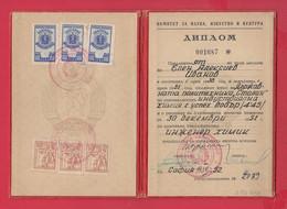 250731 / 1952 Diploma - Higher Technical School Stalin- Chemical Engineer Revenue Fiscaux Steuermarken Bulgaria Bulgarie - Diploma & School Reports