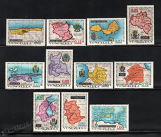 Venezuela 1971 Yvert 825-35, Geography. Venezuelan Regions. Maps - MNH - Venezuela