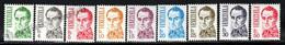 Venezuela 1987 Yvert 1373A-73J, Definitive Set, Famous People. Simon Bolivar - MNH - Venezuela