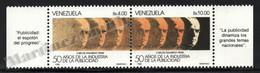 Venezuela 1988 Yvert 1386-87, Famous People. Carlos Eduardo Frias. 50th Anniv Advertising - Pair W Tabs - MNH - Venezuela