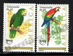 Venezuela 1993 Yvert 1644-45, America UPAEP. Fauna. Birds, Parrot & Macaw. Endangered Species - MNH - Venezuela