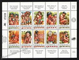 Venezuela 1993 Yvert 1666-75, Indigenous People. Yanomami, Panare, Taurepan, Piaroa & Hoti - Miniature Sheet - MNH - Venezuela