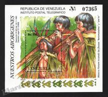 Venezuela 1993 Yvert BF 39, Culture. Indigenous People. Panare Musicians - Miniature Sheet - MNH - Venezuela