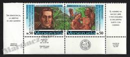 Venezuela 1995 Yvert 1764-65, Famous People. General Jose Gregorio Monagas - Pair W Corner Border - MNH - Venezuela