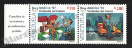 Venezuela 1997 Yvert 1928-29, America UPAEP. Post. Postman - Pair W Tab - MNH - Venezuela