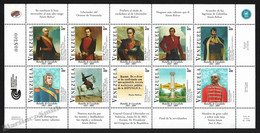 Venezuela 2001 Yvert 2175-84, Military. War. Famous People. 180th Anniv Carabobo Battle - Miniature Sheet - MNH - Venezuela