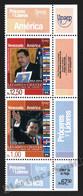 Venezuela 2014 Yvert 3054-55, America UPAEP. Famous People. Hugo Chavez - Vertical Strip W Corner Border - MNH - Venezuela