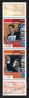 Venezuela 2014 Yvert 3054-55, America UPAEP. Famous People. Hugo Chavez - Vertical Strip W Tabs - MNH - Venezuela