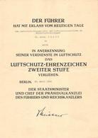 Verleihungsurkunde 1943 Luftschutz-Ehrenzeichen Berlin Aalen Truppmeister Ausbilder Führer Reichskanzler Staatsminister - Germania
