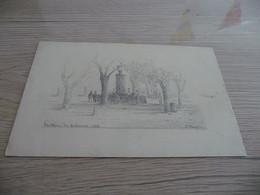 Dessin Original Signé Paul Faugier Mine De Plomb Ou Crayon Peintre Du Vaucluse Fontaine Des Quinconces 1876 Avignon? - Dessins